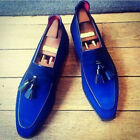 Handmade Suede Leather Royal Blue Shoes Loafer Party Tussles Style Leather Sole