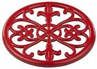 "Home Basics Red) Cast Iron Fleur De Lis Trivet Tr44392, 7.9"" x 7.9"" x .62"