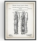 Golf Caddy Bag Patent Print Blueprint Club Decor Vintage Poster Wall Art Gift