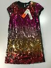 DKNY Girls Multi Colored Sequin Holiday Dress Size 7 10 or 12 NWT