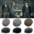 Mens 8 Panels Newsboy Flat Cap Peaky Blinders Baker Boy Golf Driving Beret Hat