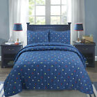 Stars Blue Reversible Cotton Comforter Bedding Set image