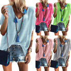 Kyпить Womens V Neck Short Sleeve Loose Tee Summer Casual Oversized T-Shirt Blouse Tops на еВаy.соm