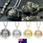 Au Expanding 4 Photo Locket Necklace Silver Ball Angel Wing Pendant Memorial