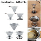 Stainless Steel Pour Over Cone Dripper Reusable Coffee Filter with Cup Stand New