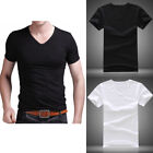Summer Men V Neck Slim T-Shirt Tops Cotton Short Sleeve Black White   image