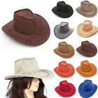 Adults Ladies Mens Cowboy Hat Suede Look Wild West Fancy Dress Cowgirl Hen Stag