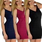 Crossover Pleated Low Neck Bodycon Designer Party Dress Size  Womens