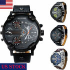 US Military Leather Stainless Steel Quartz Analog Army Men's Cute Wrist Watches image