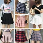 Women Polyester Zipper High Waist School Pleated Plaid Pattern Mini Skirt