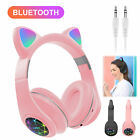 Bluetooth Wireless Cat Rabbit Ear Headsets LED w/ Mic Headphones For Kids Girls