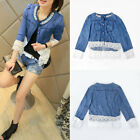 Women's Ladies Denim Coat Jean Jacket Lace Splicing Outerwear Plus Size S 5XL