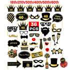 36pcs 18th/21st/30th/40th/50th/60th Birthday Party Photo Booth Props Decorations