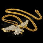 18K Gold CZ Out Iced Bald Eagle Bird Stainless Steel Box Chain Pendant Necklace