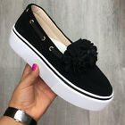 Womens Ladies Flower Slip On Flat Pumps Trainers Loafers Comfy Shoes Size 3-6.5