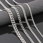 Size 4-6mm Men's Necklace Stainless Steel Cuban Link Chain Hip Hop Jewelry New