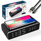 WIRELESS CHARGING QI DIGITAL LCD ALARM CLOCK   Charging Pad for iPhone Samsung <br/> ✅ GET 30% OFF WITH MULTI-BUY ✅ 1ST CLASS POSTAGE ✅ UK