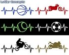 "36"" Wide Large Heartbeat Vinyl Sticker Decal 