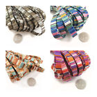FABRIC COVERED FLAT ETHNIC 10mm x1.5mm CORD COLOURFUL JEWELLERY STRING NECKLACE