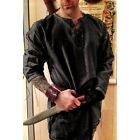 Medieval Linen Men Shirt Medieval Celtic Viking Norman Cosplay Tops Plus Size