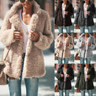 Women's Teddy Bear Winter Warm Thick Fluffy Coat Lapel Fleece Fur Casual Jacket