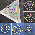 30x Raindrop Flatbacks No-Hotfix Rhinestones CRYSTAL AB Nail ART Pick You Shape