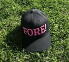FORE! Pink on Black Snapback Golf Hat