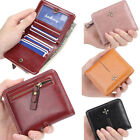 US FAST Women Small Bifold Leather Wallet Mini Zipper Coin Purse ID Card Pocket image