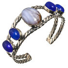 Blue Lace Agate Blue Chalcedony CuffBracelet 925 Silver Overlay  Jewelry Sz7-8*