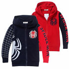 Kids Boys Zipper Spiderman Sweatshirt Hoodies Hooded Jacket Coat Tops Outwear