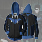 Batman Nightwing Robin Cosplay Hoodie Sweatshirt Costume Zip Up Coat Jacket Xmas