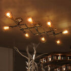 Industrial Iron Pipe Cross Chandelier Retro Rustic Steampunk Ceiling Light Lamp
