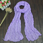 Womens Long Cotton Linen Scarf Ladies Boho Solid Stole Voile Wrap Beach Shawl