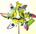 Garden Stake Peacock Painted Metal Decor Two Layers Decorative Stones 21* New