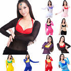 Mesh Transparent Low Cut Belly Dance Top Body Suil w Shorts Stretch Long Sleeve