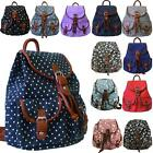 New Ladies Metallic Butterfly Star Dot School College Canvas Buckle Backpack