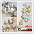 12pcs Hollow Butterfly 3d Wall Stickers Decors Wall Art Wall Home Decorations Uk