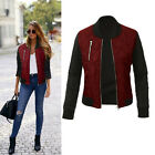 Womens Vintage Winter Quilted Retro Padded Bomber Jacket Zip Biker Coat Outwear