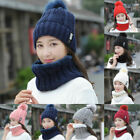 US Winter Hat And Scarf Set For Women Scarves Knitted Fur Ski Warm Cap Beanie