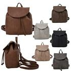 New Ladies Drawstring Faux Leather Small Casual Simple Backpack Rucksack