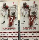 2 Tickets To Southern Mississippi Vs. Alabama - Lower Level - West Stands For Sale