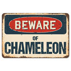 Beware Of Chameleon Rustic Sign SignMission Classic Rust Wall Plaque Decoration