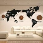 Wooden Wall Clocks Creative 3D World Map Home Decor Large Alarm Watch Sticker