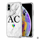 Initials Phone Case Personalised Marble Hard Cover For Apple iphone X 11 046-13