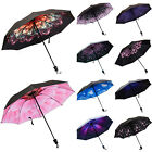 Folding Inverted Printed Umbrella Windproof Double Layer Upside Down Reverse US