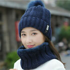 Women Winter Scarf And Hat Set Knitted Warm Beanie Skullcaps Knit Neck Warmer US