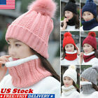 Kyпить Women Winter Scarf And Hat Set Knitted Warm Beanie Skullcaps Knit Neck Warmer US на еВаy.соm