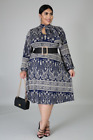 Pretty in Paisley Navy Blue Plus Size Dress