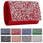 New Crystal Encrusted Flap Shimmer Glitter Ladies Party Evening Clutch Bag