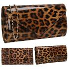 New Women's Animal Print Leopard Pattern Faux Patent Leather Clutch Bag